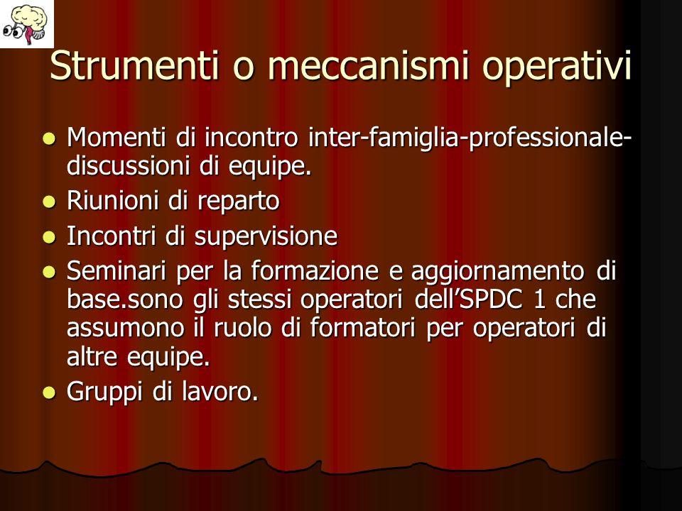 Strumenti o meccanismi operativi
