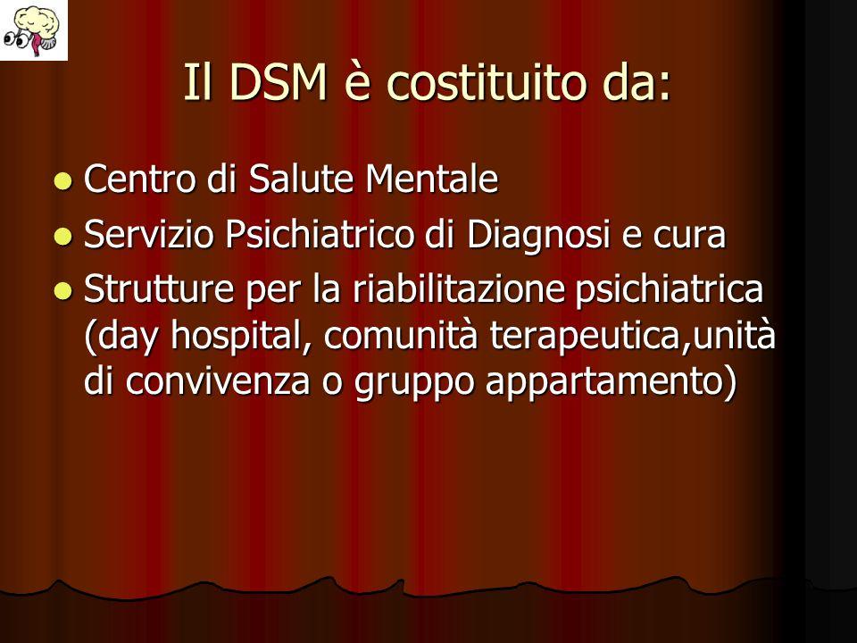 Il DSM è costituito da: Centro di Salute Mentale