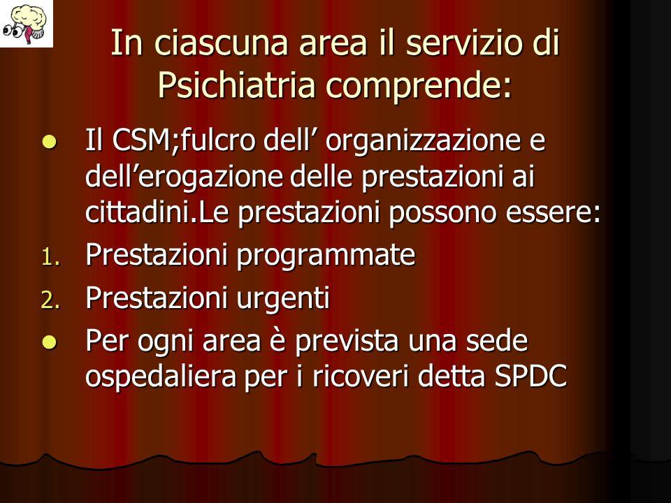 In ciascuna area il servizio di Psichiatria comprende: