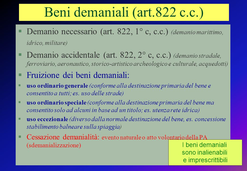 Beni demaniali (art.822 c.c.)