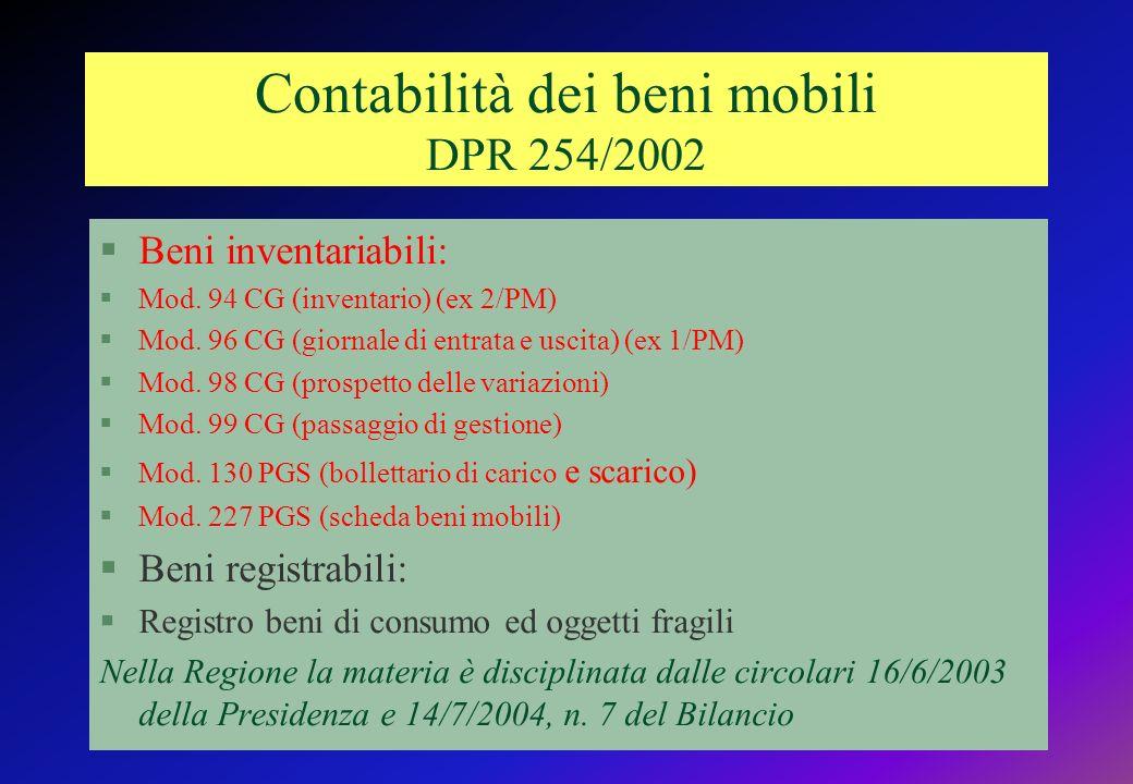Contabilità dei beni mobili DPR 254/2002