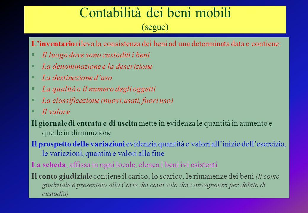 Contabilità dei beni mobili (segue)