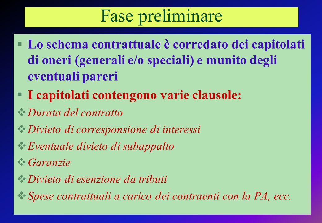 Fase preliminare Lo schema contrattuale è corredato dei capitolati di oneri (generali e/o speciali) e munito degli eventuali pareri.