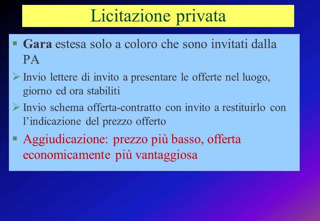 Licitazione privata Gara estesa solo a coloro che sono invitati dalla PA.
