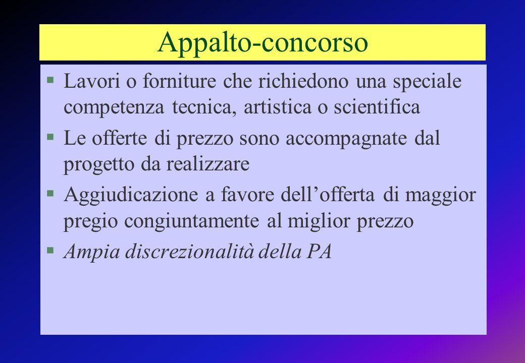 Appalto-concorso Lavori o forniture che richiedono una speciale competenza tecnica, artistica o scientifica.