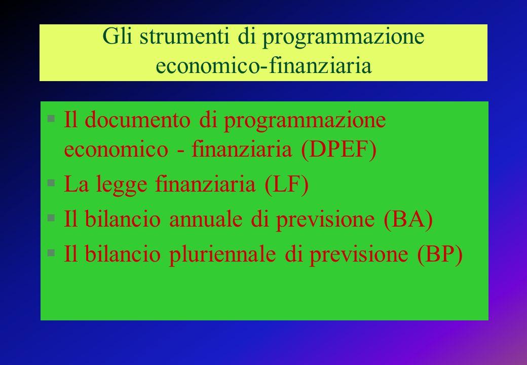 Gli strumenti di programmazione economico-finanziaria