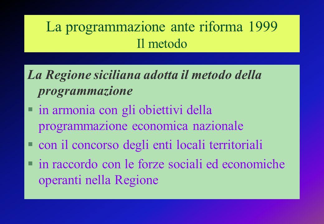 La programmazione ante riforma 1999 Il metodo