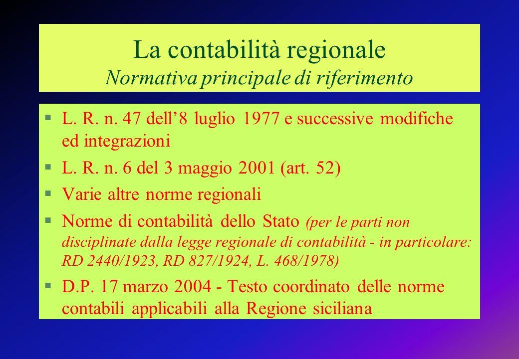 La contabilità regionale Normativa principale di riferimento