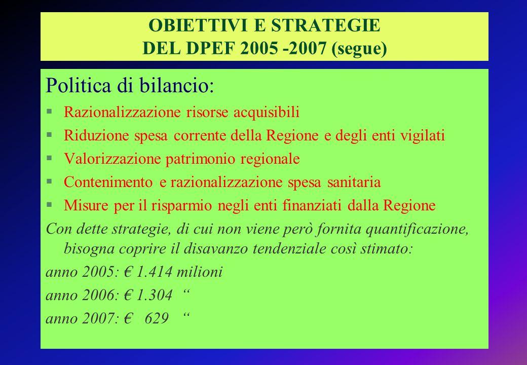 OBIETTIVI E STRATEGIE DEL DPEF 2005 -2007 (segue)