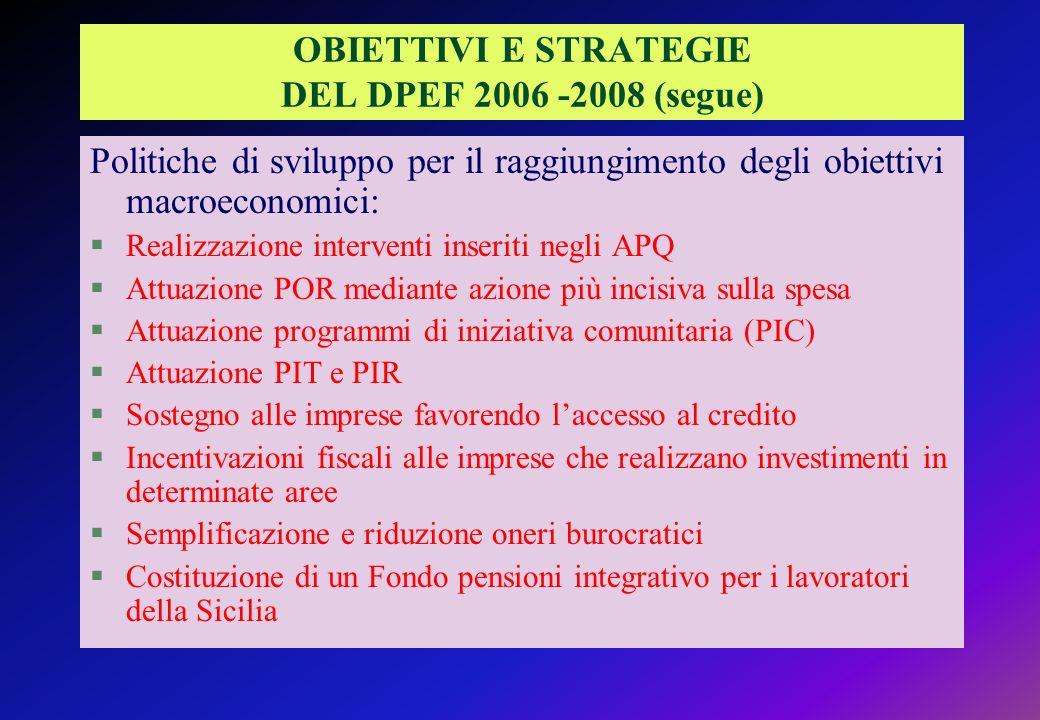 OBIETTIVI E STRATEGIE DEL DPEF 2006 -2008 (segue)