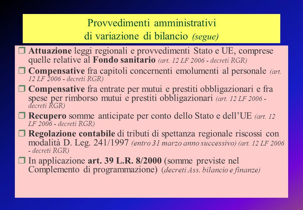 Provvedimenti amministrativi di variazione di bilancio (segue)