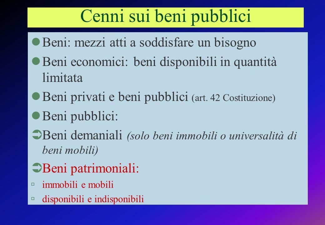 Cenni sui beni pubblici