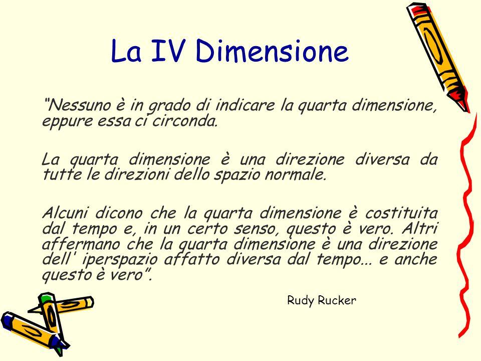 La IV Dimensione Nessuno è in grado di indicare la quarta dimensione, eppure essa ci circonda.