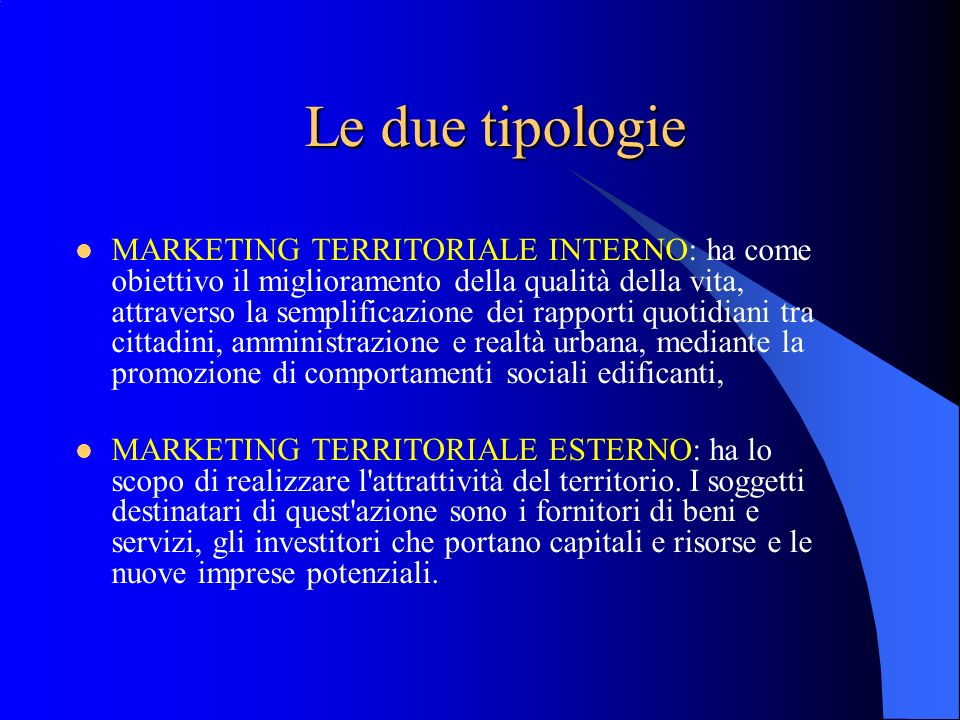 Le due tipologie