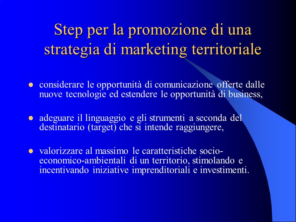 Step per la promozione di una strategia di marketing territoriale