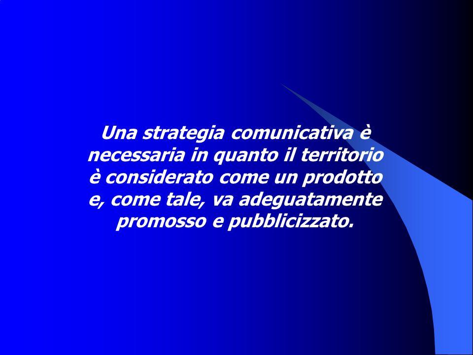 Una strategia comunicativa è necessaria in quanto il territorio è considerato come un prodotto e, come tale, va adeguatamente promosso e pubblicizzato.