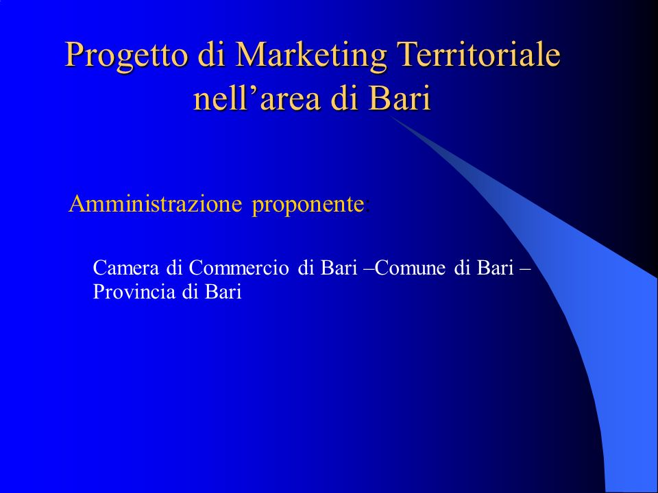 Progetto di Marketing Territoriale nell'area di Bari