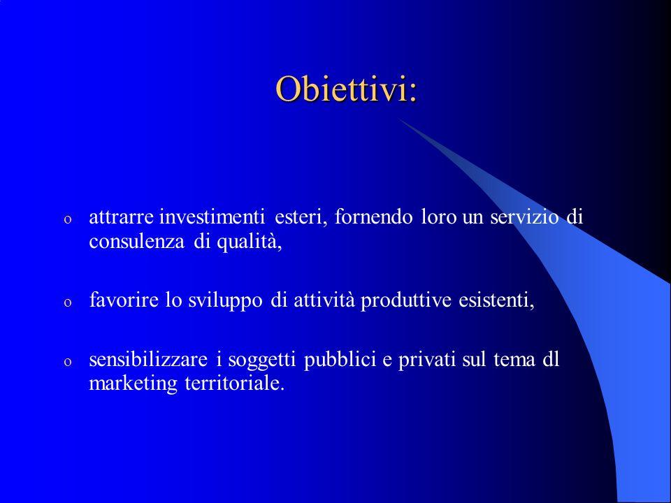 Obiettivi: attrarre investimenti esteri, fornendo loro un servizio di consulenza di qualità, favorire lo sviluppo di attività produttive esistenti,
