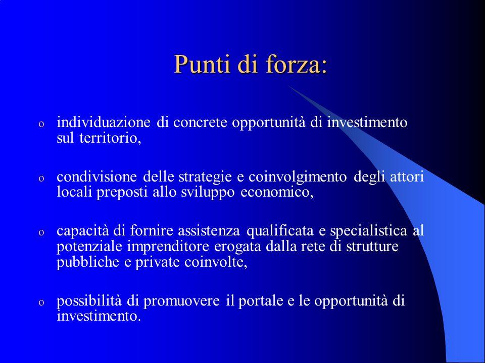 Punti di forza: individuazione di concrete opportunità di investimento sul territorio,