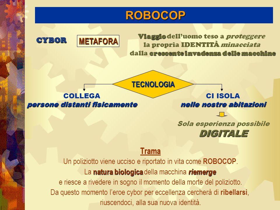 ROBOCOP DIGITALE METAFORA Trama CYBOR TECNOLOGIA