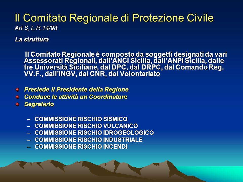 Il Comitato Regionale di Protezione Civile Art.6, L.R.14/98