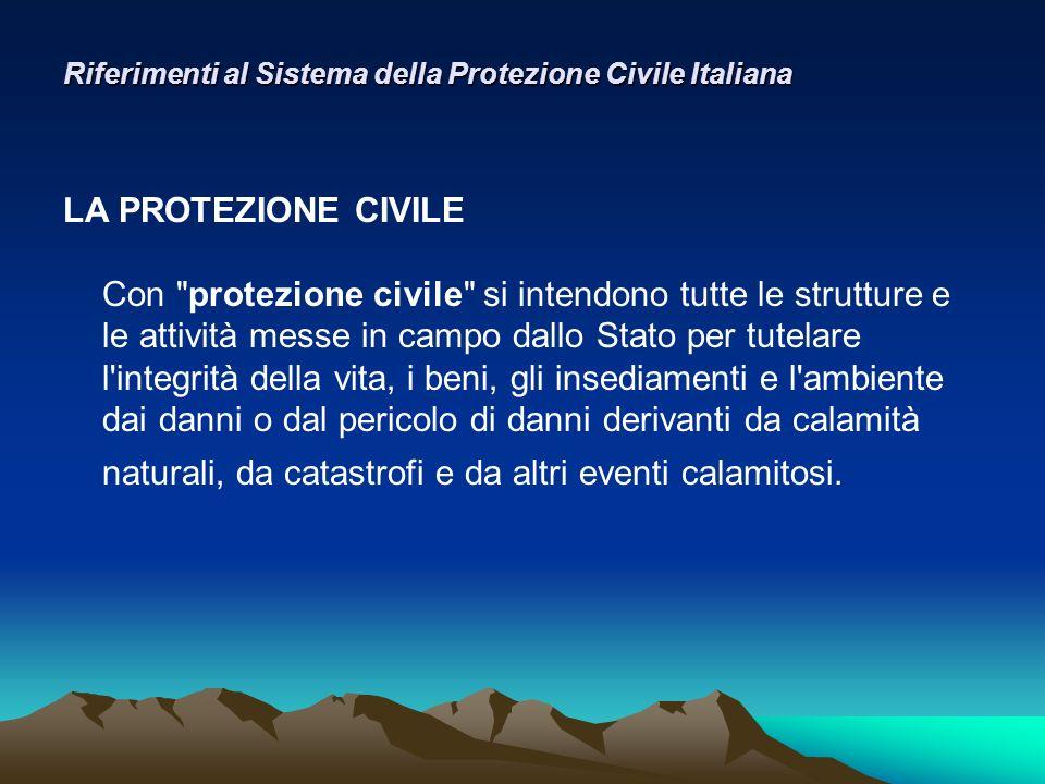 Riferimenti al Sistema della Protezione Civile Italiana