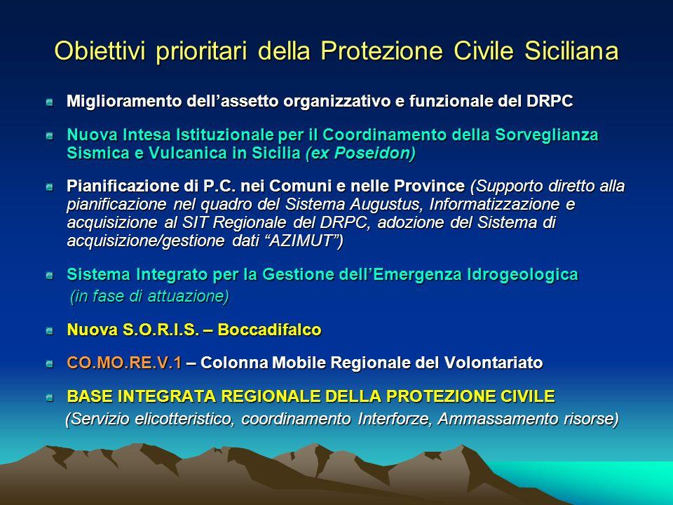 Obiettivi prioritari della Protezione Civile Siciliana