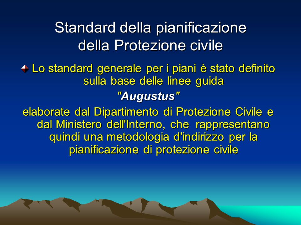 Standard della pianificazione della Protezione civile