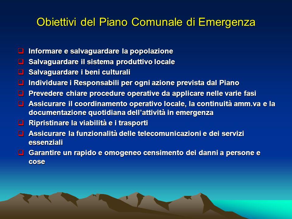 Obiettivi del Piano Comunale di Emergenza