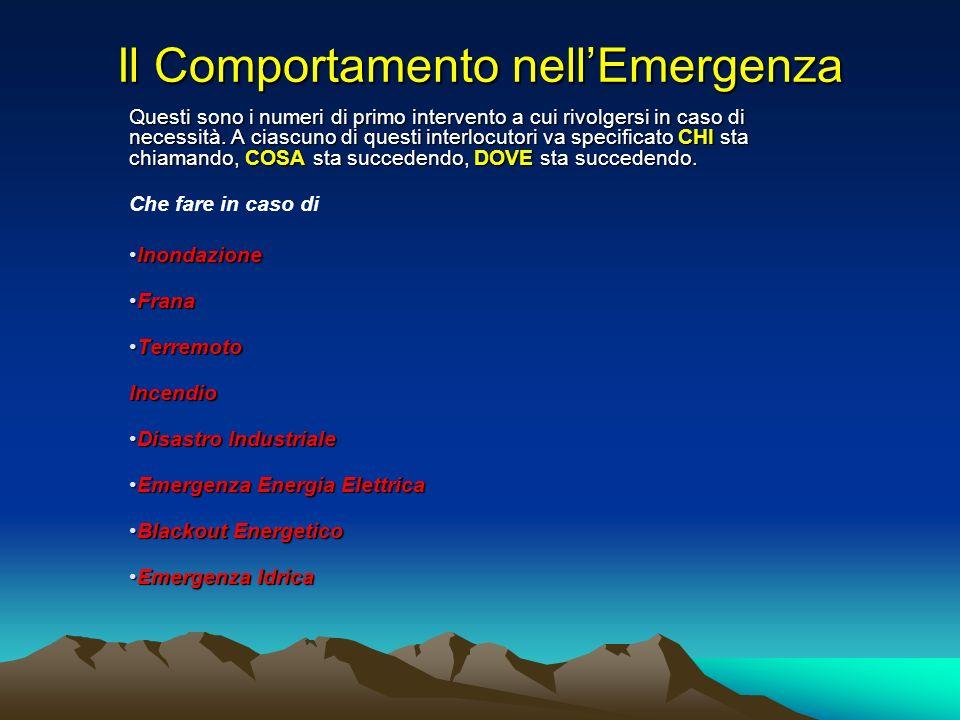 Il Comportamento nell'Emergenza