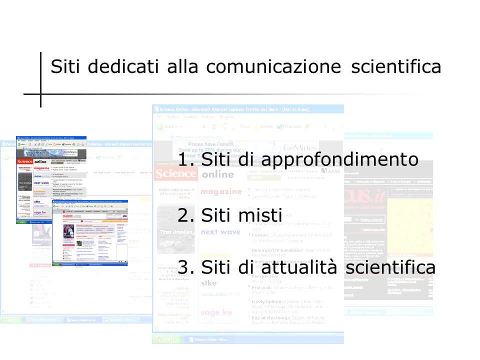 Siti dedicati alla comunicazione scientifica