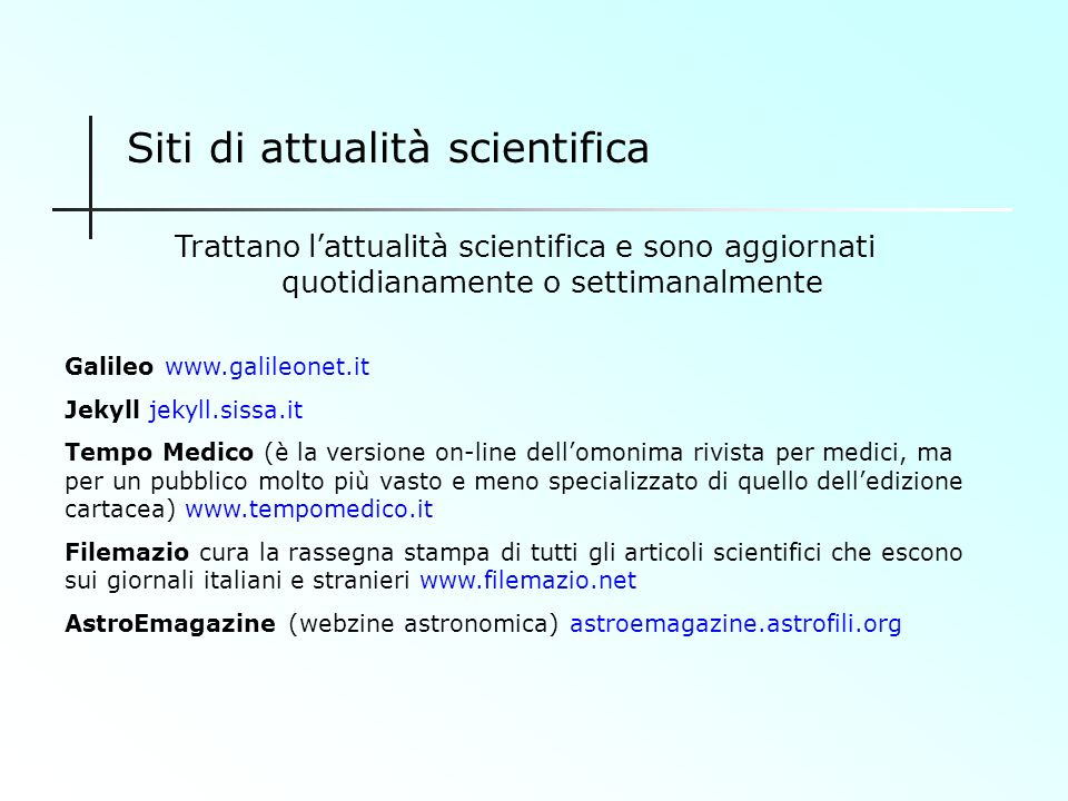 Siti di attualità scientifica