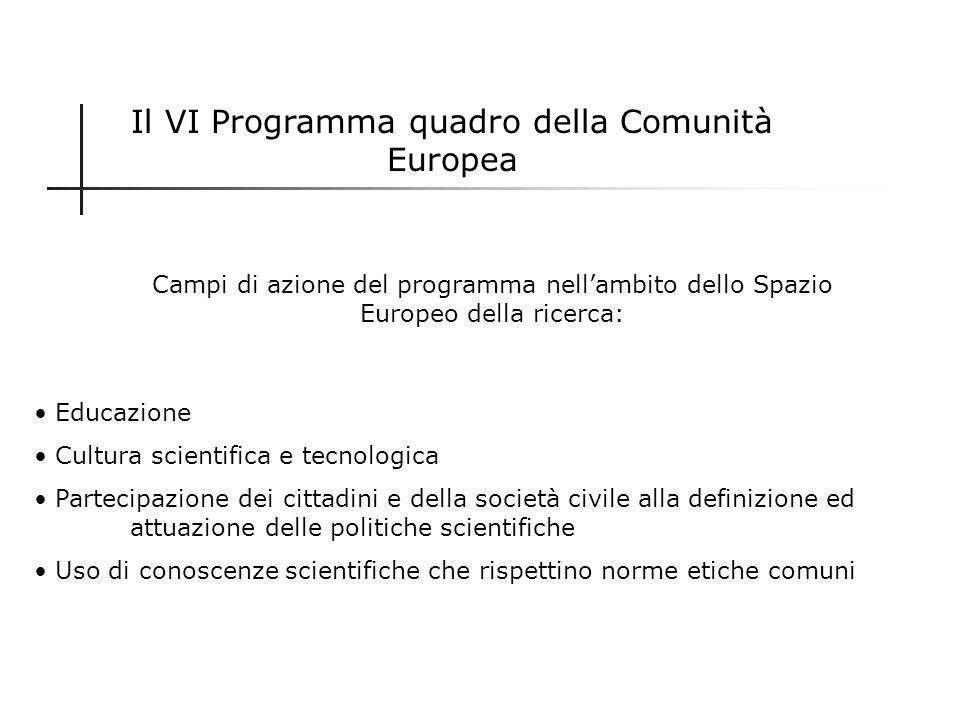 Il VI Programma quadro della Comunità Europea
