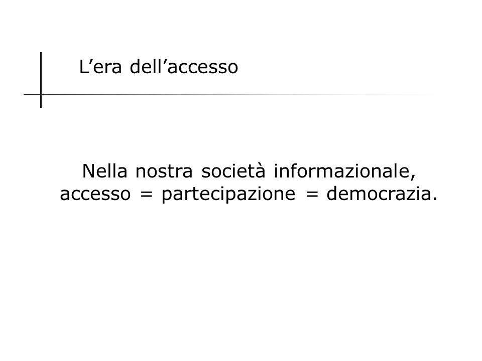 L'era dell'accesso Nella nostra società informazionale, accesso = partecipazione = democrazia.
