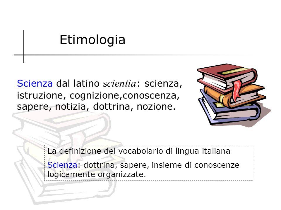 Etimologia Scienza dal latino scientia: scienza, istruzione, cognizione,conoscenza, sapere, notizia, dottrina, nozione.