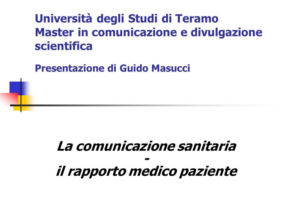 La comunicazione sanitaria - il rapporto medico paziente