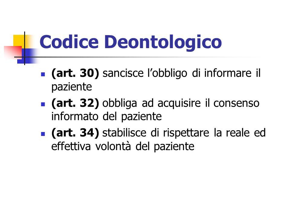 Codice Deontologico(art. 30) sancisce l'obbligo di informare il paziente. (art. 32) obbliga ad acquisire il consenso informato del paziente.