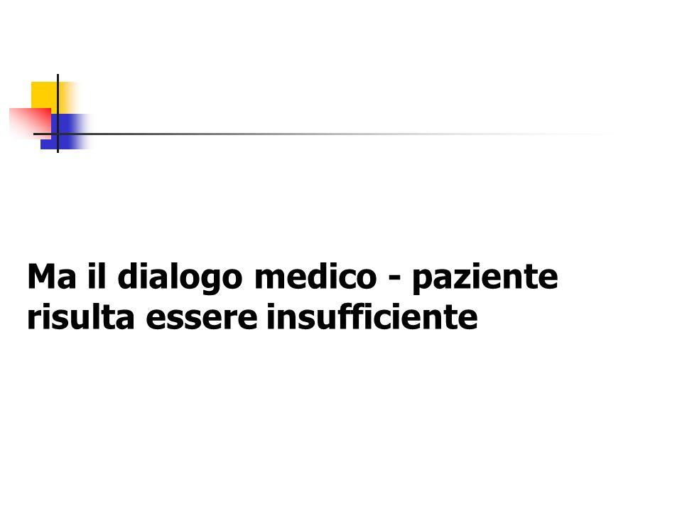 Ma il dialogo medico - paziente risulta essere insufficiente