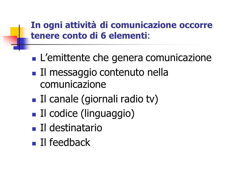 In ogni attività di comunicazione occorre tenere conto di 6 elementi: