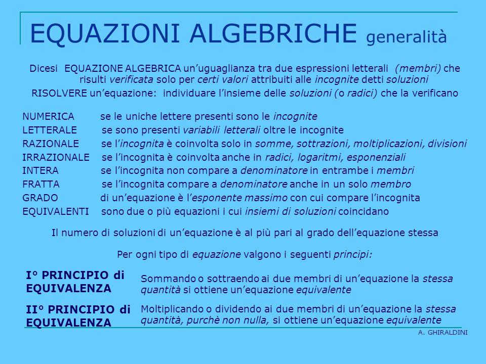 EQUAZIONI ALGEBRICHE generalità