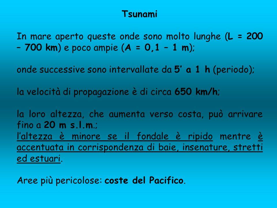 Tsunami In mare aperto queste onde sono molto lunghe (L = 200 – 700 km) e poco ampie (A = 0,1 – 1 m);