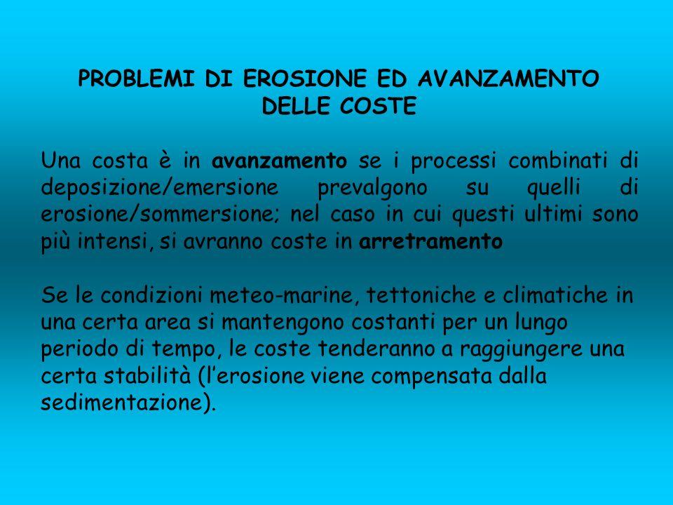 PROBLEMI DI EROSIONE ED AVANZAMENTO DELLE COSTE