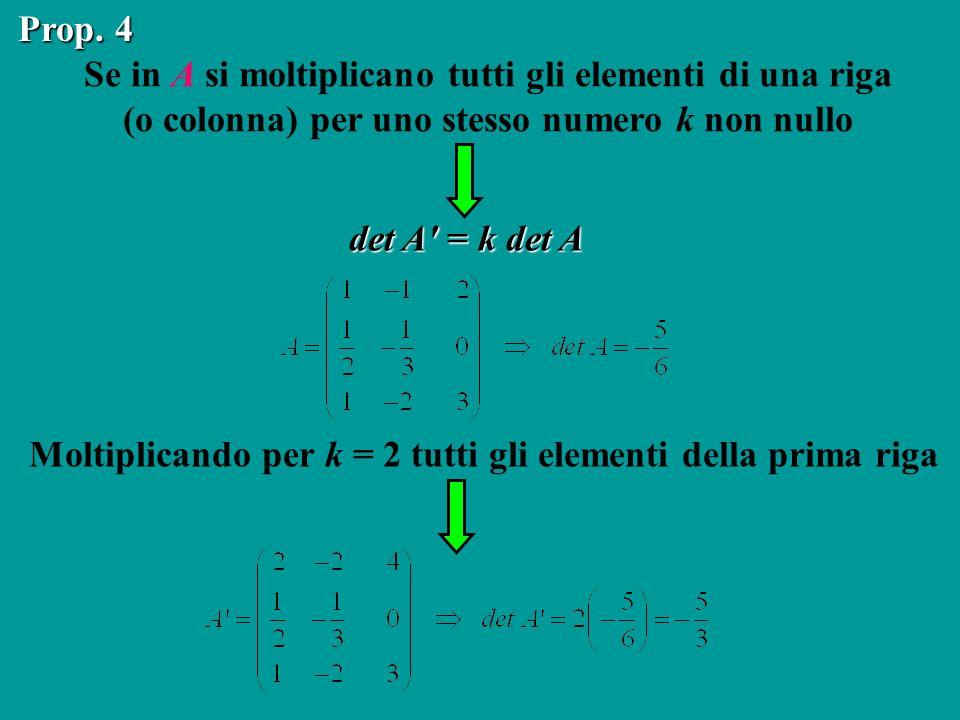 Moltiplicando per k = 2 tutti gli elementi della prima riga