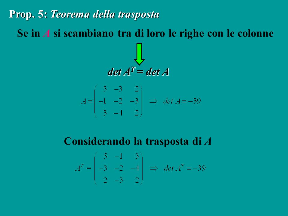 Prop. 5: Teorema della trasposta
