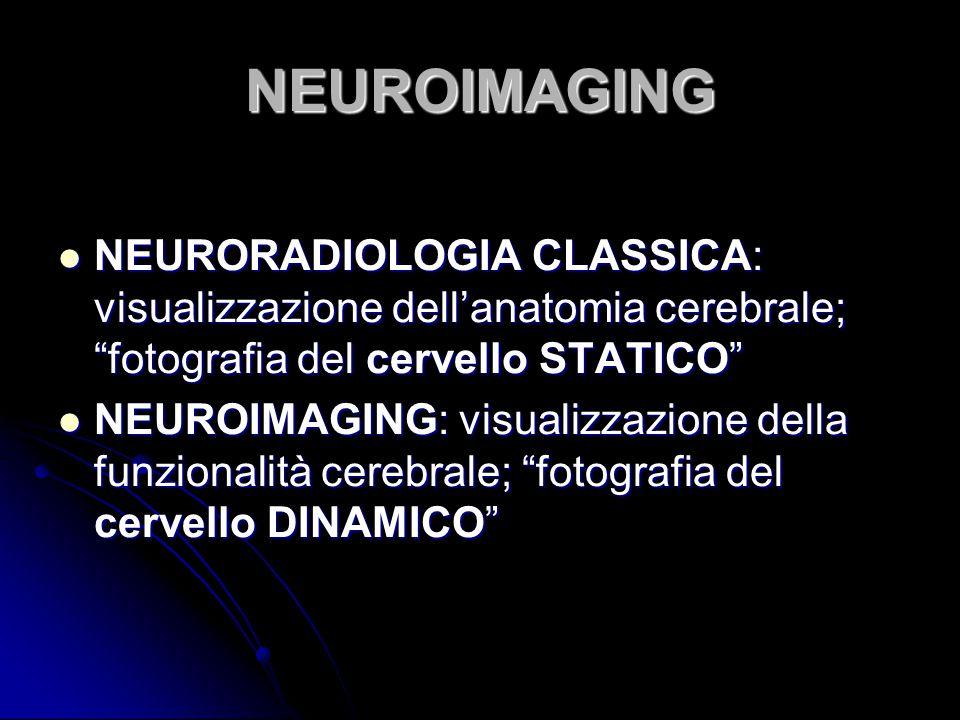 NEUROIMAGING NEURORADIOLOGIA CLASSICA: visualizzazione dell'anatomia cerebrale; fotografia del cervello STATICO
