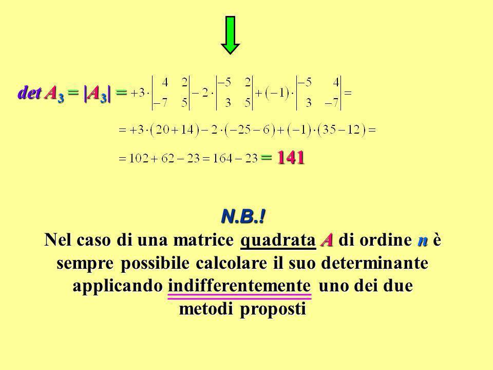 det A3 = |A3| = = 141.