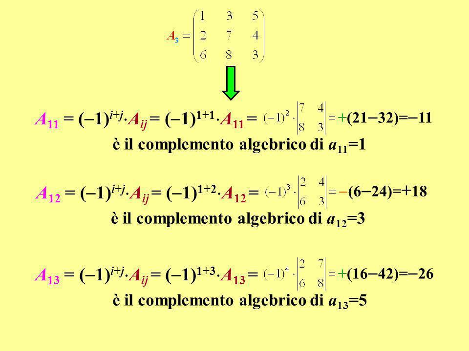 A11 = (1)i+jAij = (1)1+1A11 =
