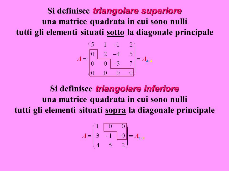 Si definisce triangolare superiore una matrice quadrata in cui sono nulli tutti gli elementi situati sotto la diagonale principale
