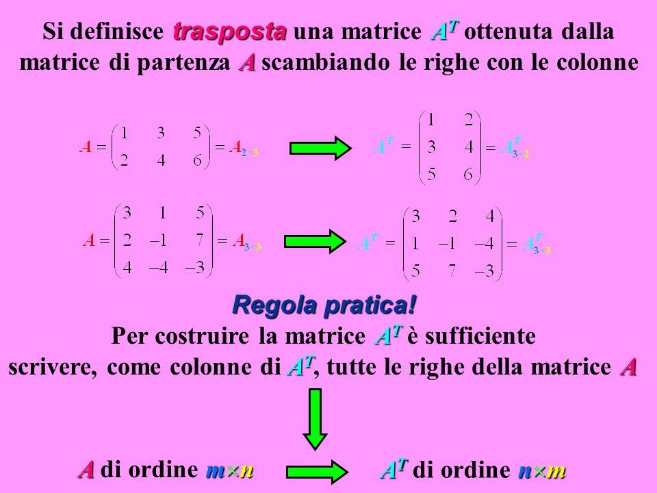 Si definisce trasposta una matrice AT ottenuta dalla matrice di partenza A scambiando le righe con le colonne