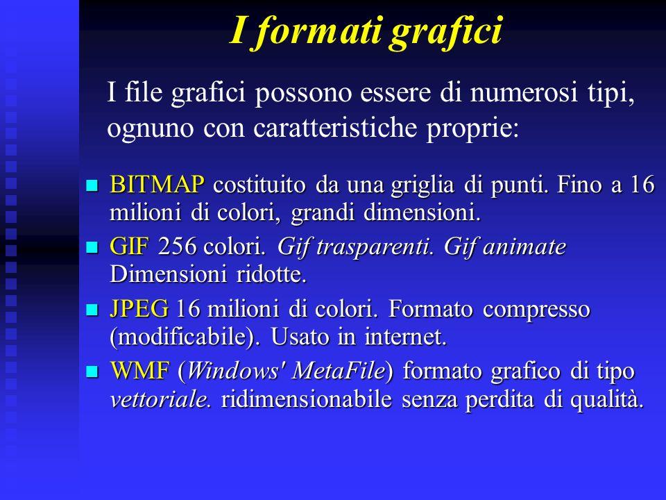 I formati grafici I file grafici possono essere di numerosi tipi, ognuno con caratteristiche proprie: